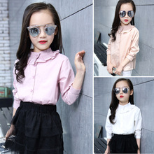 Toddler Girl Back To School Blouse For Kids Child Cotton Solid Ruffle School Blouses and Shirt  Teenage Girls Boutique Tops 7 12 цены онлайн