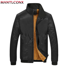 MANTLCONX 2019 Winter Jacket Mens Fleece Casual Jackets Men Warm Thermal Coats Solid Thickened Outwears Windbreak