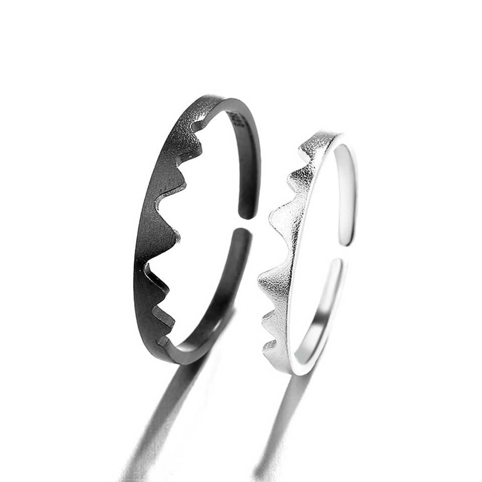 2 In 1 Putih Pasangan Hitam Adjustable Cincin Paduan Tembaga Berlapis Perak Pecinta Cincin Fashion Trendi Wanita Perhiasan Hadiah Ulang Tahun