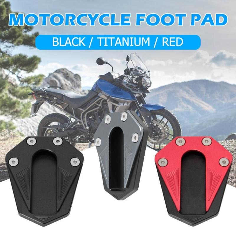 Non-slip Motorcycle Foot Kickstand Excellent Aluminum Alloy Extension Pad Side Stand For TRK 502 78-18 Black Titanium Red