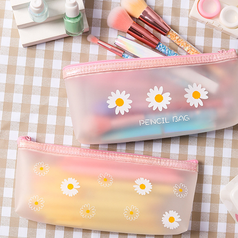 Pencil Cases With Daisies Penal Pencil Box Korean Stationery Supplies Cute Bag Cosmetic Case For Brushes Pensil Case Girls