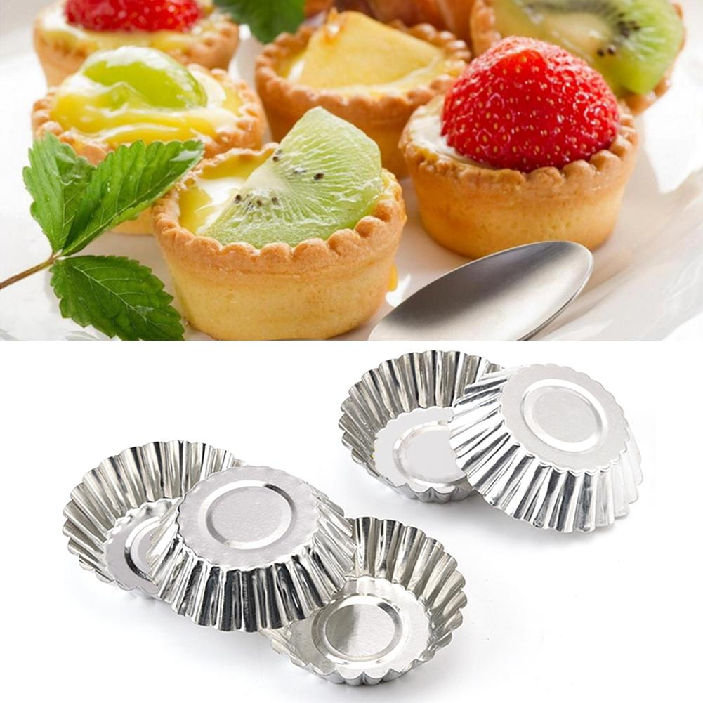 100pcs Egg Tart Molds Stainless Steel Cupcake Mold Thickened Reusable Cake Cookie Mold Tin Baking Tool Baking Cups