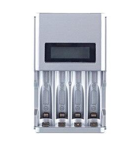 Image 2 - Carregador de pilhas inteligente, tela LCD, 4 espaços, para pilhas recarregáveis AA/AAA, NiCd NiMh, tomada UE #8175, de qualidade, imperdível