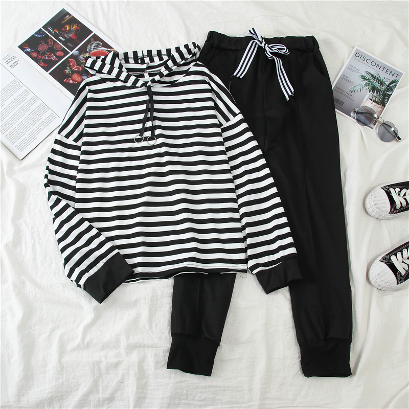 Mooirue Autumn Striped Pant Set Women Casual Hooded Pullovers High Waist Elaastic Harem Pants Vintage Streetwear Tracksuit Women
