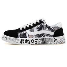 New Unisex Fashion Graffiti Flat Vulcanized Shoes Women Ligh