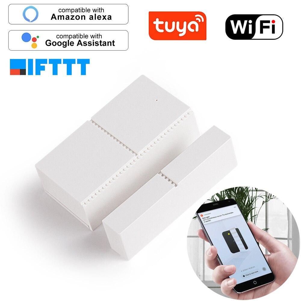 Tuya wi fi sensor da porta app controle de alarme segurança interruptor magnético sem fio janela doorsensor casa inteligente sistema compatível