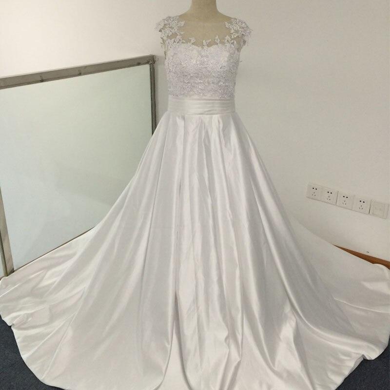 Glamorous A Line Jewel Appliqued Lace Sheer Back Wedding Dresses