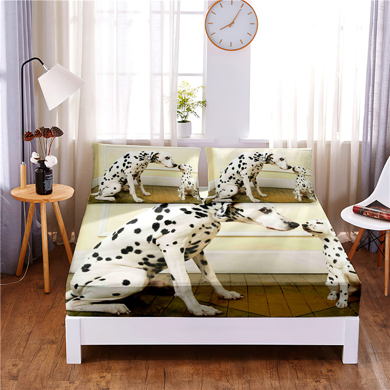 Spotted Dog  Printed 3pc Polyester  Fitted Sheet Mattress Cover Four Corners with Elastic Band Bed Sheet Pillowcases