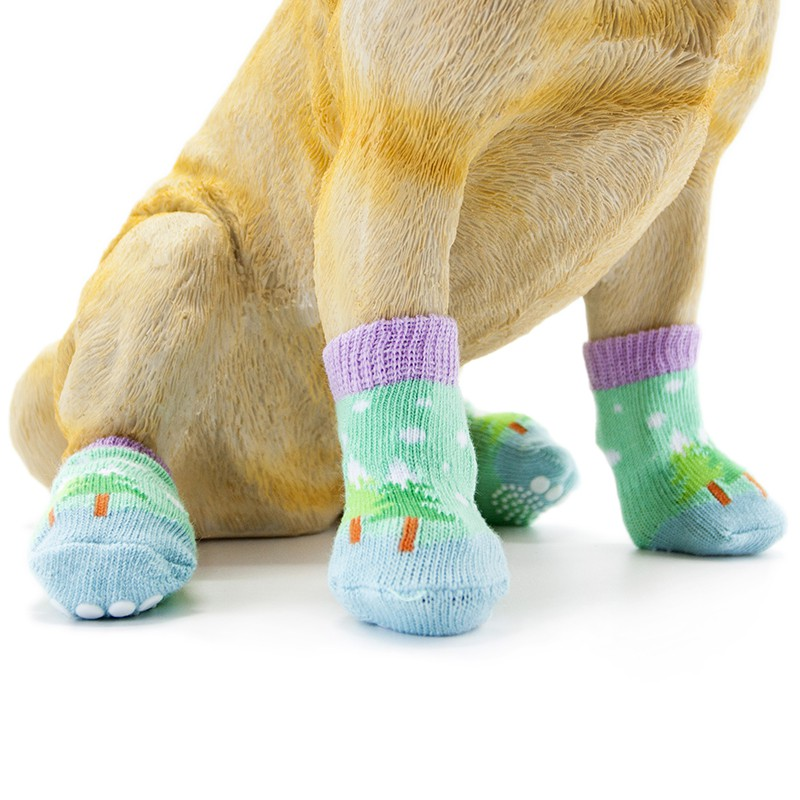 4pcs Pet Dog Knit Socks Christmas Pattern Printed Non-slip Cotton Socks Paws Cover Warm Shoes S M L XL