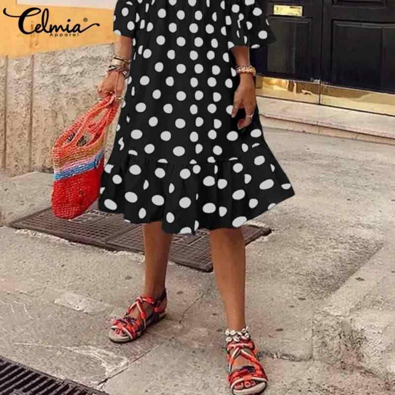 S-5XL Celmia ผู้หญิง Bohemian Polka Dot ฤดูร้อน 3/4 แขนเสื้อ Ruffles Sundress หลวมๆสบายๆเสื้อ Vestidos Robe Mujer