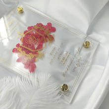 Customized transparent eternal flower acrylic net red invitation hot stamping wedding invitation creative business invitation