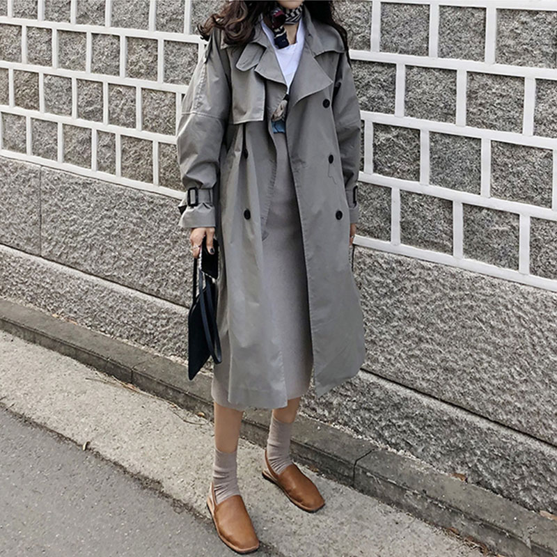 Trench   Coat Double-breasted Loose Long Coat Women Turn Down Collar Outwear Plus Size Winter Vintage Overcoat Autumn Korean V548