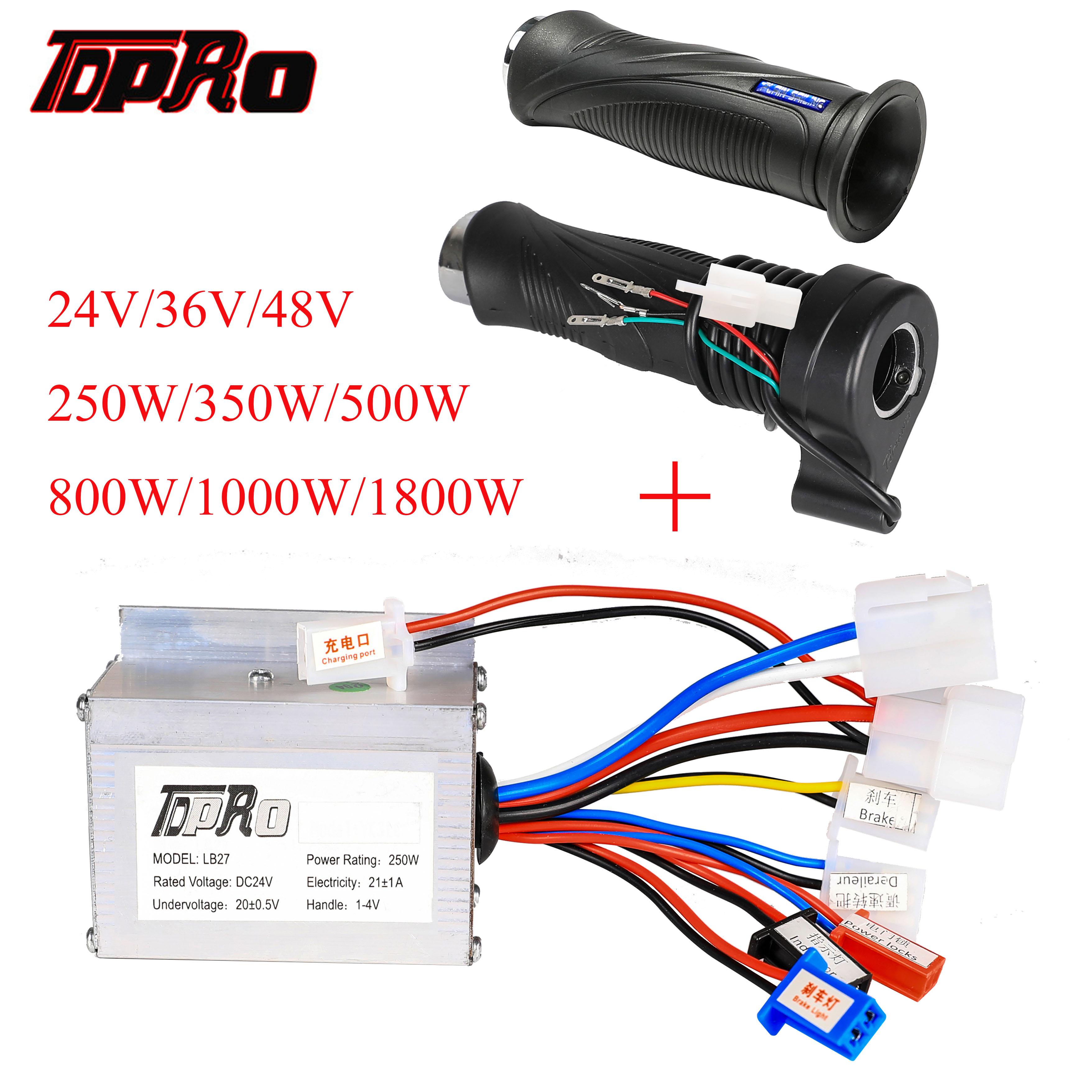 TDPRO 24V/36V/48V 350/500/800/1000W Motor Brush Controller Speed Throttle Twist Grip For Electric Bicycle Scooter ATV Buggy Bike