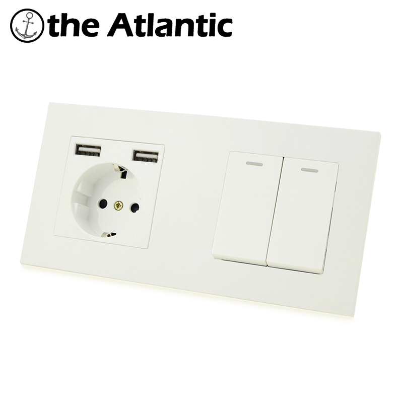 Atlectric DE EU Standard Plug Double Socket Dual USB 1 2 3 4 Gang Lamp Light Button Switch Wall Power Electrical Outlet