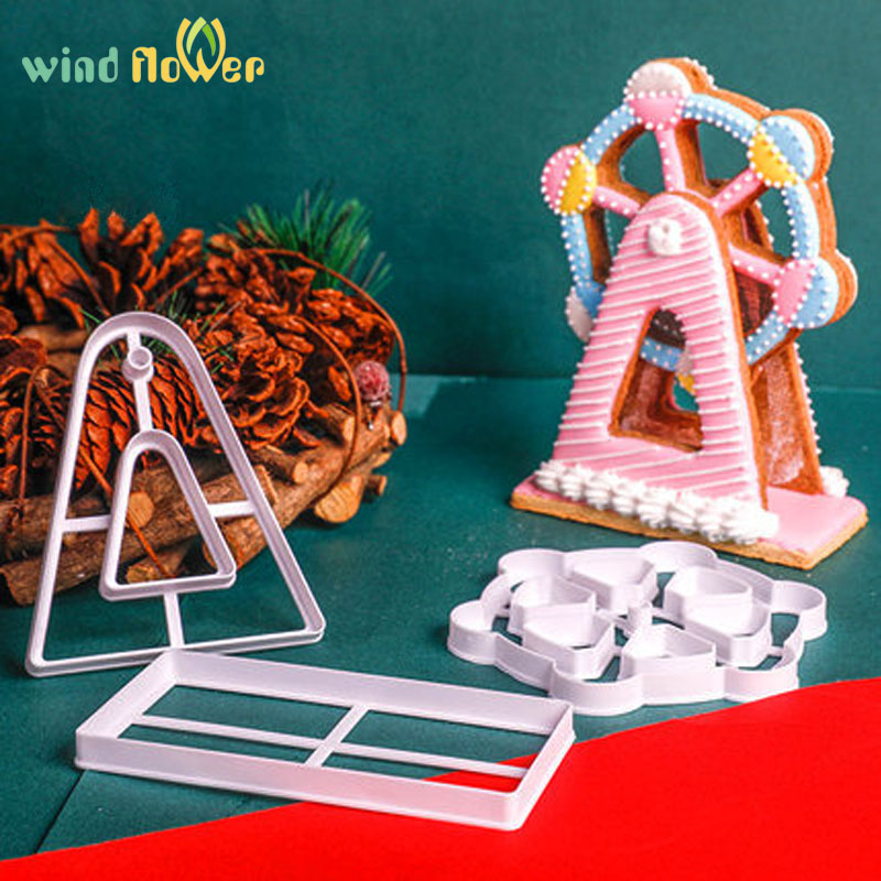 Wind <font><b>flower</b></font> 3Pcs/Set 3D Ferris Wheel Cookie <font><b>Cutter</b></font> Fondant <font><b>Cake</b></font> Baking <font><b>Tool</b></font> Mold <font><b>Cake</b></font> <font><b>Decor</b></font> Embossed Molds Baking Pastry Mold image