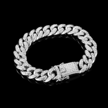 Rhinestone Bracelet Jewelry Cuban Link Gifts Hiphop Gold Silver-Color Simple-Design Women