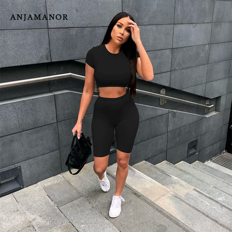 ANJAMANOR Casual Sportswear 2pieces Tracksuit Women Clothes Two Piece Summer Set Biker Shorts Crop Top Outfits 2020 D53-AA48