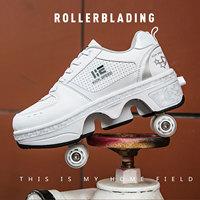 Zapatillas de Patinaje con ruedas de PU para hombre y mujer, zapatos transpirables con polea Invisible, cuatro ruedas, para Parkour