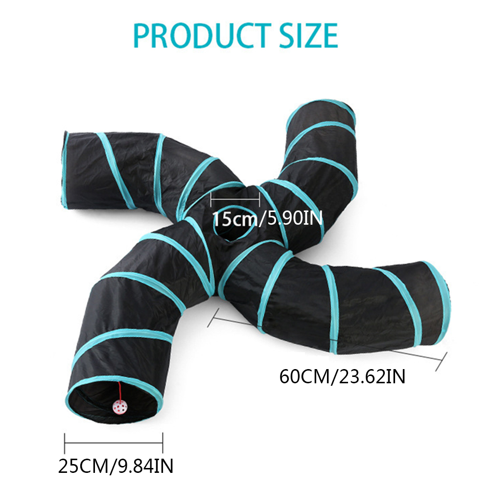 14styles Foldable Pet Cat Tunnel 2/3/4/5 Holes Pet Tube Collapsible Play Toy S-type Indoor Outdoor Kitty Puppy Training ToysTube 10