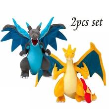 2 sztuk miękkie Anime śliczne Mega Evolution X & Y Charizard pluszowe zabawki kawai wypchane zwierzęta dzieci miłość lalki świąteczne prezenty dla dzieci