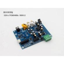 Ak4493 eq dac dsd dop fibra coaxial spdif dac placa de decodificador de áudio digital suporte iis 384khz dsd512
