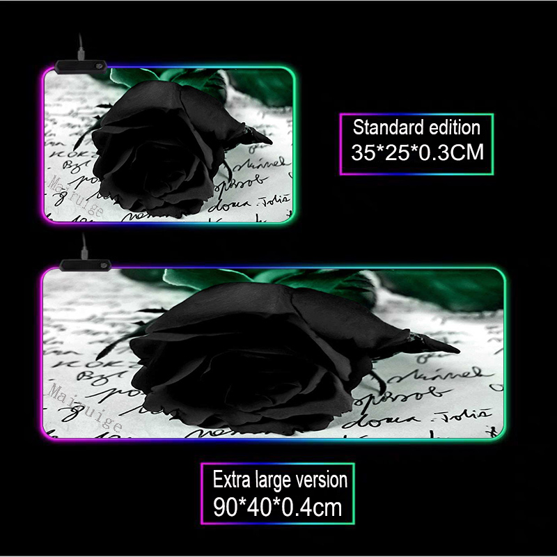 Mairuige аниме на заказ большой коврик для мыши rgb черный цветок