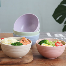 4 Pcs Wheat Straw Bowl Non-stick PP Kitchen Accessories Rice Food Dish Preserve Container Eco-friendly Durable Bowl Tableware