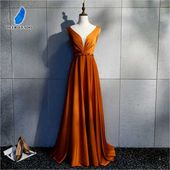 DEERVEADO Sexy Open Back Long Evening Dresses with Beading Deep V Neck Formal Dress Occasion Party Dresses Evening Gown XYG820 - DISCOUNT ITEM  37% OFF Weddings & Events
