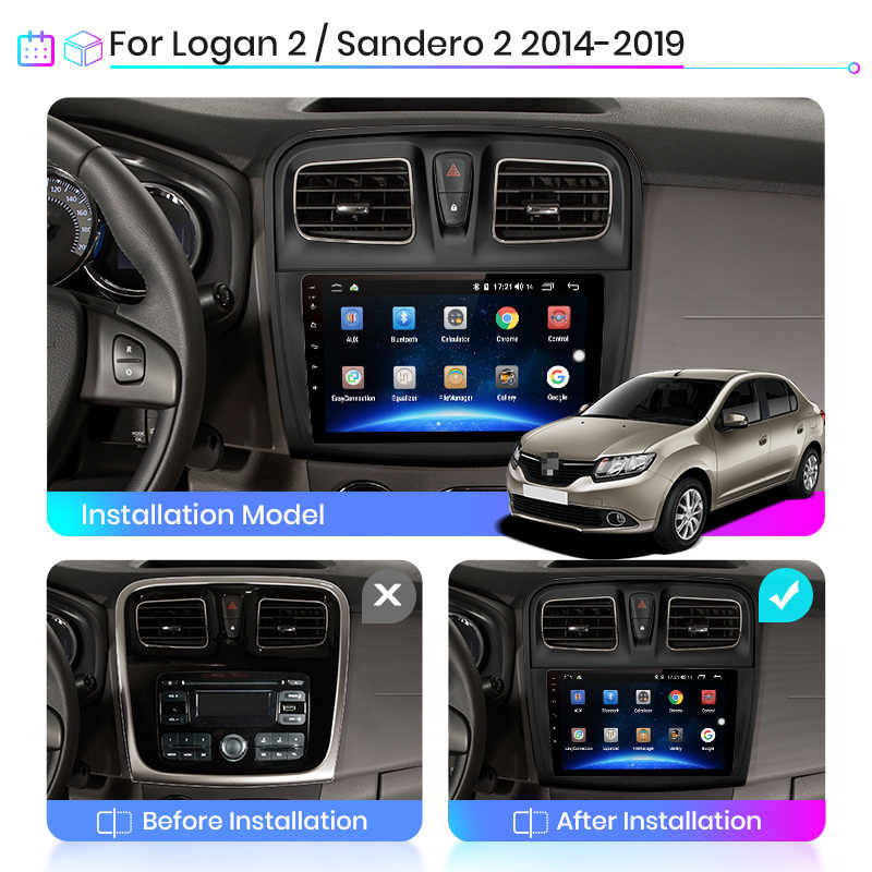 Junsun V1 2G + 32G Android 10.0 DSP araç radyo multimedya Video oynatıcı Renault Logan Sandero 2014-2019 navigasyon GPS no 2 din