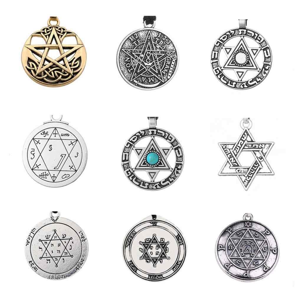 Teamer Vintage Wicca Charms do tworzenia biżuterii tetragram Pentagram Pentagram wisiorek salomon talizman Amulet akcesoria dla mężczyzn