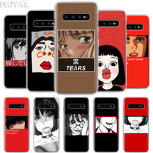 Anime puzzle Funny Girl Face Phone Case for Samsung Galaxy S10 S8 S9 Plus S10e S7 Note10 Plus A40 A50 A60 A70 Hard PC back cover(China)