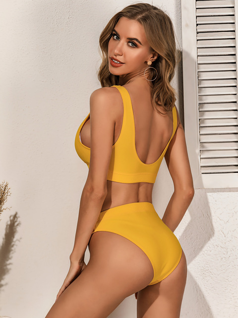 Qeils High Quality Bikini 2021 Women Solid Yellow Push Up High Waist Swimsuit Bathers Bathing Suit Padded Cut Out Swimwear 3