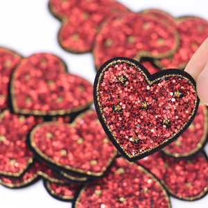 10Pcs/Lot Love Sequin Patches for Kids Women Clothes DIY Stripes Iron on Appliques Thermo Clothing Embroidery Heart Badges(China)