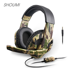 Shoumi Camouflage Gaming Headset Professional Gamer Stereo New Head-mounted Headphone Computer Earphones for PS4 PS3 Xbox Switch cheap Over the Ear Orthodynamic CN(Origin) Wired 113dB None 100mW for Video Game Common Headphone For Mobile Phone HiFi Headphone