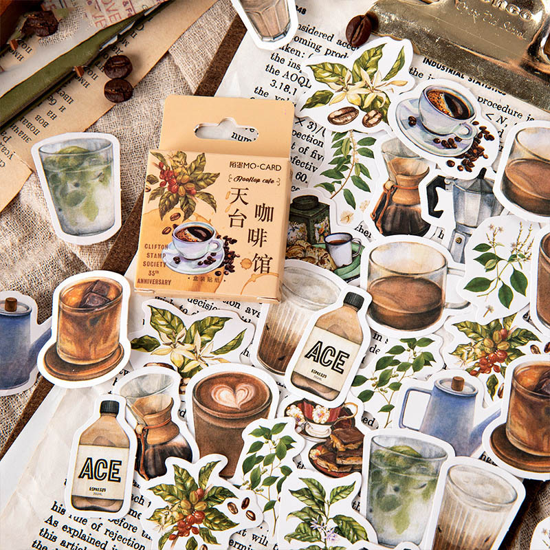 46Pcs Kawaii Plants Decor Sticker Cute Coffee Stationery Stickers Bullet Journal Sticker For Kids DIY Scrapbooking Diary Albums