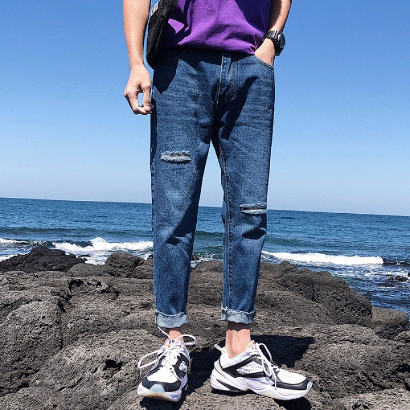 New Style With Holes Jeans Men's Popular Brand Korean-style Capri Pants Loose Straight Summer Thin Section Retro Beggar Pants Me