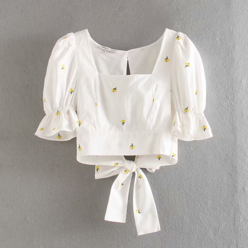 New 2020 Women Square Collar Puff Sleeve Floral Embroidery Smock Blouse Ladies Backless Bow Tied Shirts Chic Blusas Tops LS6573