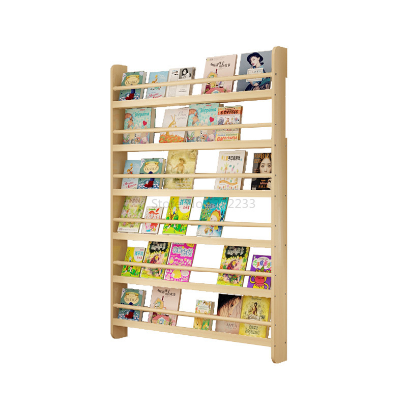 Book And Newspaper Display Shelf Wall Shelf Book And Newspaper Shelf Real Wood Baby Kindergarten Picture Book Shelf Wall Shelf