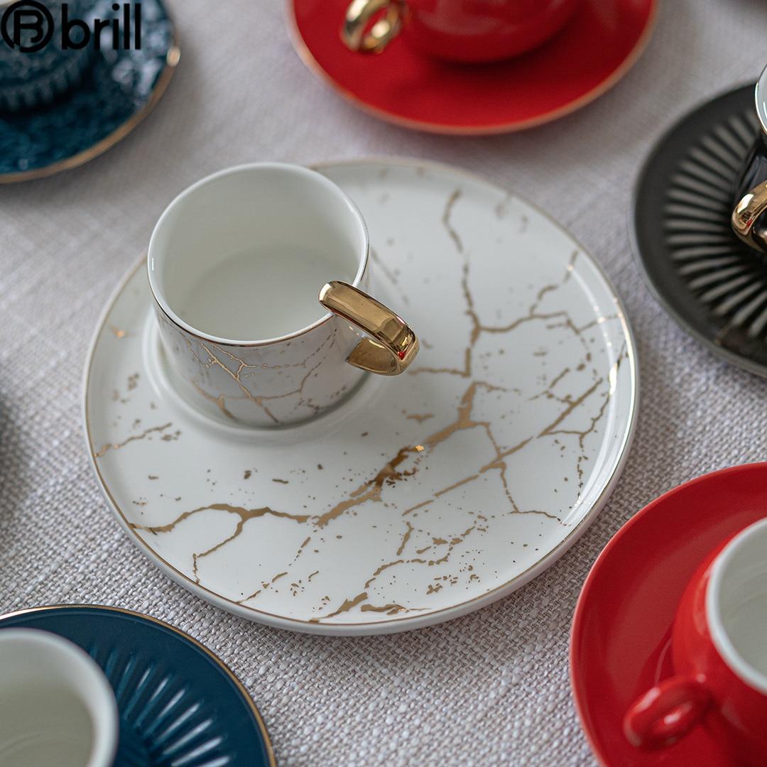 Luxury Ceramic Coffee Mug Travel Cute Small Turkish Coffee Coffee Cup and Saucer Set Japanese Cup Juego De Tazas De Cafe Mugs