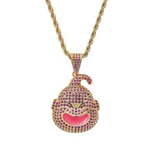 Hip Hop Purple AAA CZ Stone Bling Iced Out Anime Dragon Ball Buu Pendants Necklace for Men Rapper Jewelry Gold Silver(China)