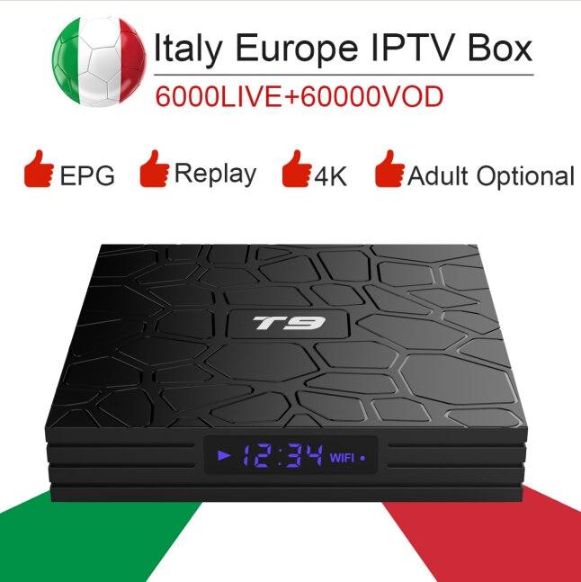 T9 RK3318 Android 9.0 Smart TV Box&italy super iptv subscription Germany Albania Turkey bein sport netflix ExYu adult iptv