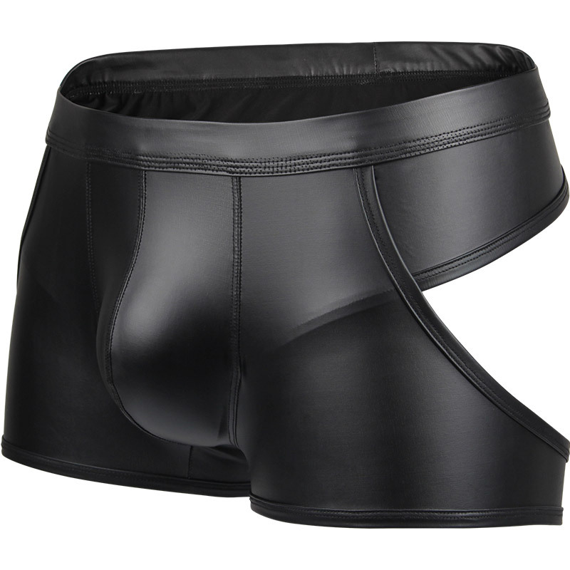 New Sexy Men Hollow Boxers Male Underwear Faux Leather Open Butt Bottoms Performance Club Wear Underpants Backless Boxer Shorts