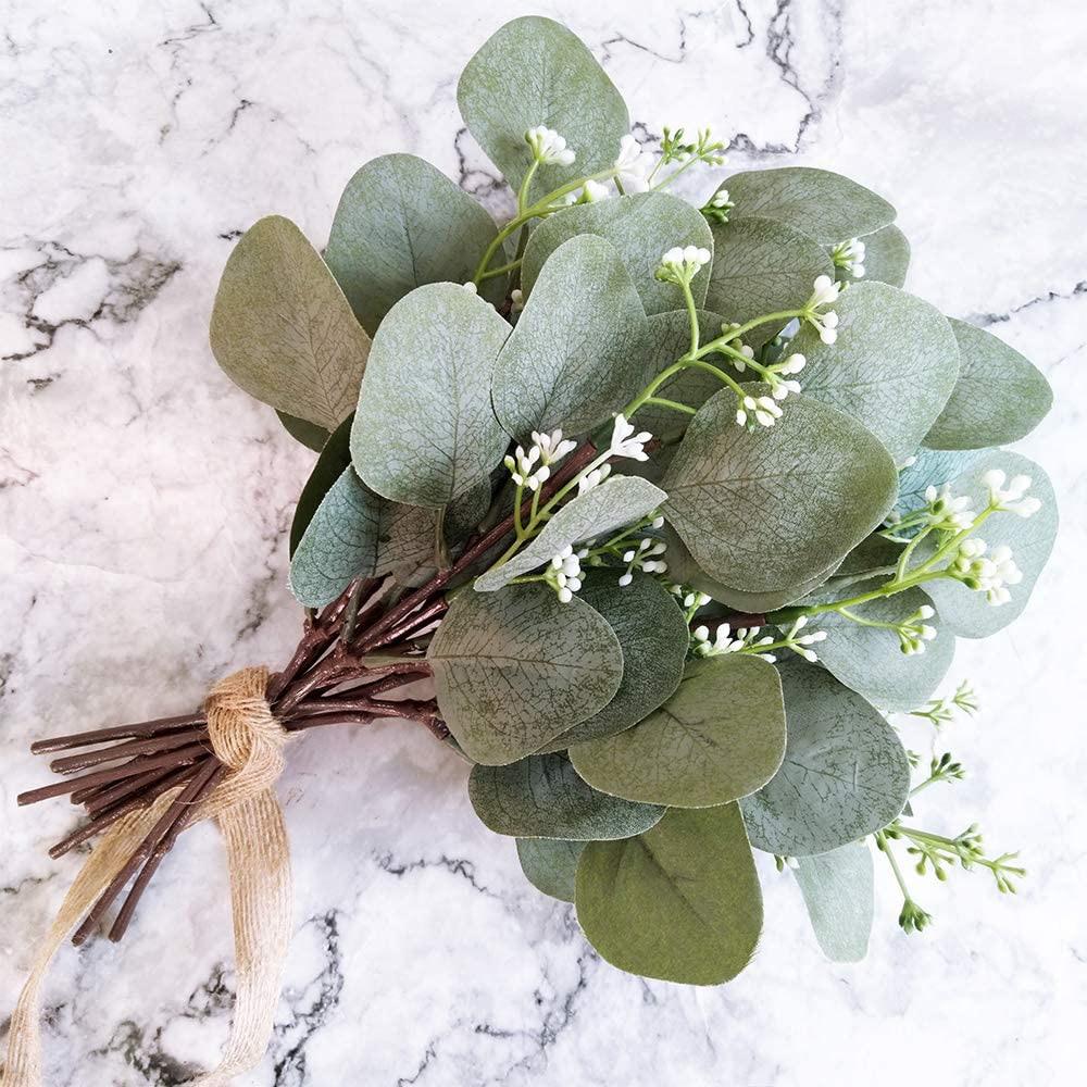 5//10 Pcs Artificial Eucalyptus Leaves Stems Bulk Artificial Silver Dollar UK AA