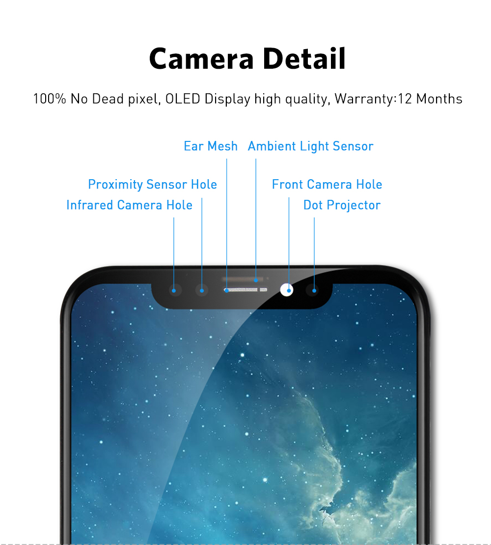 H0c66501fece64d3f98d6e6210dedb7daX AAA+++ For iPhone X OLED With 3D Touch Digitizer Assembly No Dead Pixel LCD Screen Replacement Display For iPhoneX LCD with Gift