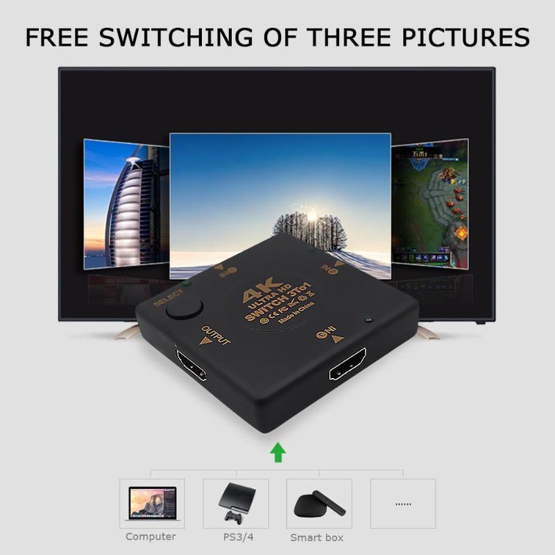 3 Port 4K HDMI Switcher Video Audio Splitter Converter Support 4Kx2K HDTV 3DTV Support Audio Output Dolby TrueHD DTS-HD