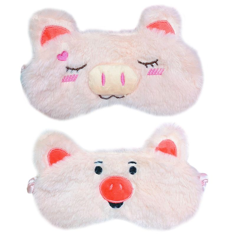 Women Women Girls Sweet Pink Color Plush Sleeping Eye Mask Cute Cartoon Pig Embroidered With Ears Eyeshade Stretchy Relax Cover