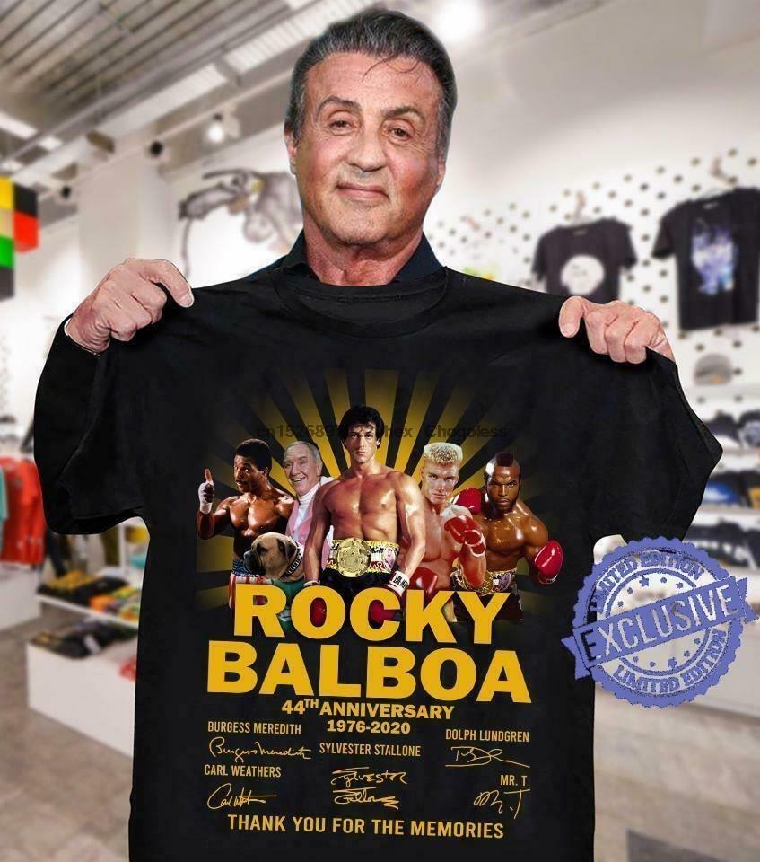 Rocky balboa 44th anniversary 1976 2020 assinaturas obrigado para as memórias sh t camisa