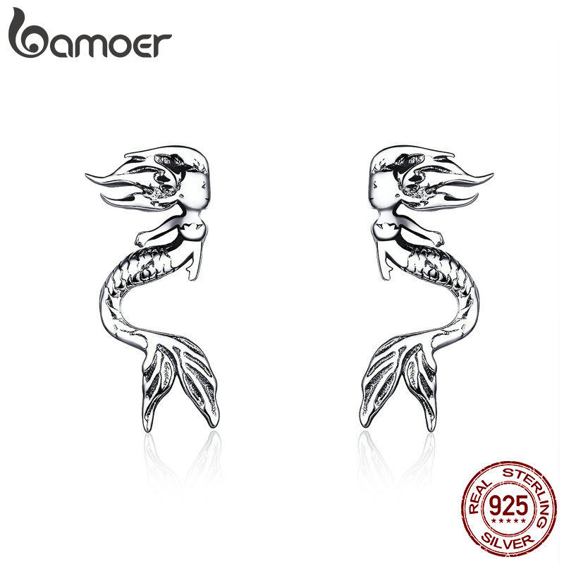 BAMOER 2019 Fashion Earrings 925 Sterling Silver Vintage Mermaid Figure Stud Earing For Women Ear Pin Gifts For Girl SCE588