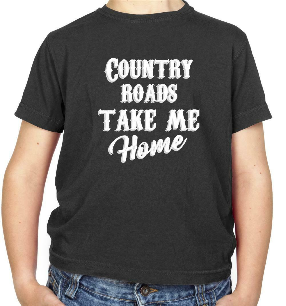 Country Roads, Take Me Home Kids T-Shirt - Song Lyrics - John Denver - 70's New Arrival Men'S Short image