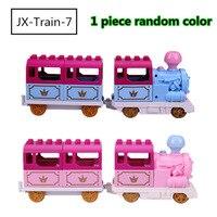 대형 입자 빌딩 블록 작은 기차 공주 기차 철자 삽입 블록 액세서리 호환 Duploed 완구 어린이를위한